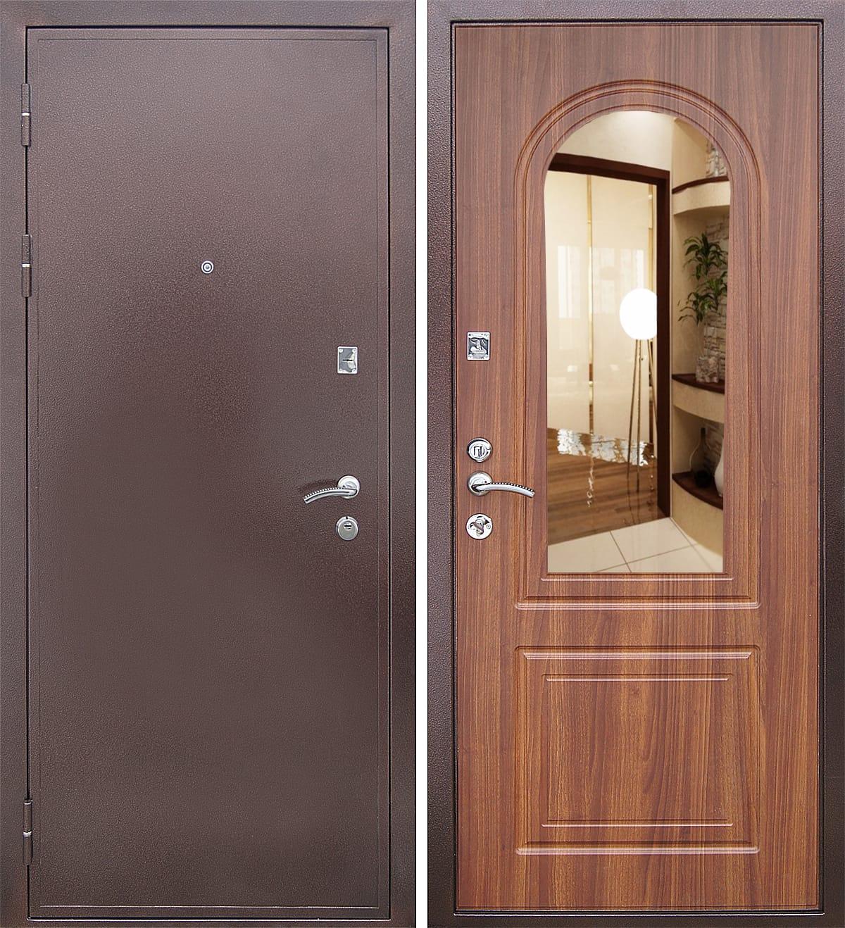 зеркальные двери входные фото